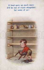 Little boy reaching for top shelf of rationed food